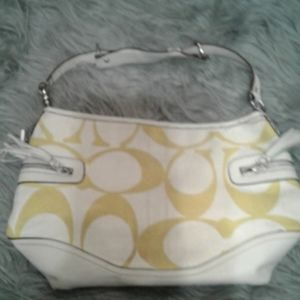 Vintage yellow and white Coach purse